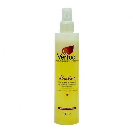 Spray biphase revitalisant sans rinçage Vertual Kératine 200 ml